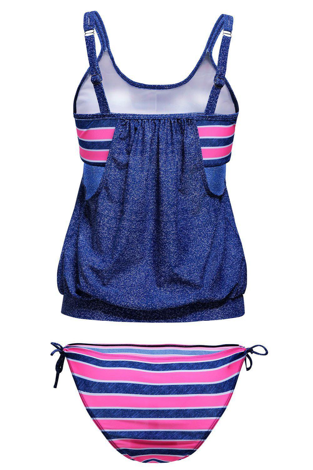 Plus Size Tankini Swimsuit Student Two Piece Bikini Set Striped Double Up Sport Swimwear Women 2 Piece Suits XL XXL XXXL-ACTIVEWEAR-SheSimplyShops