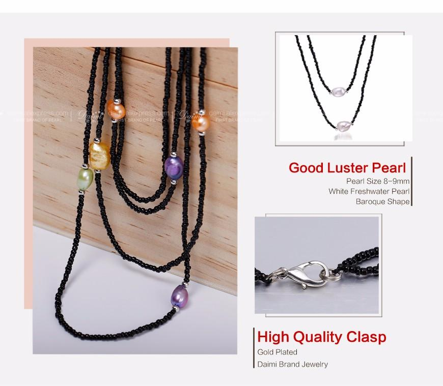 Multi Pearl Long Necklace Freshwater Water Pearl Sweater Chain White/Yellow/Multi Color-NECKLACES-SheSimplyShops