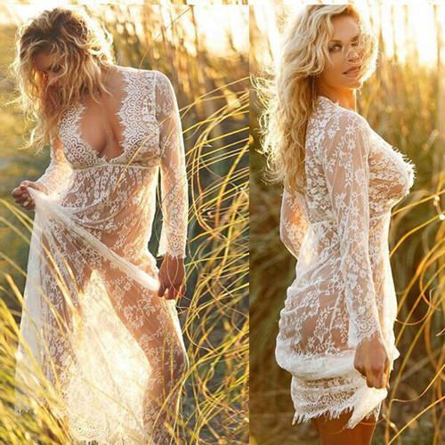 Sexy Lace Deep V Neck See through Dress-Dress-SheSimplyShops