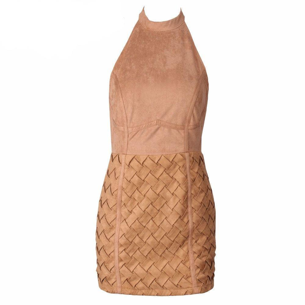 3D Geometric Artificial Leather Down loop Mini Dress-Dress-SheSimplyShops