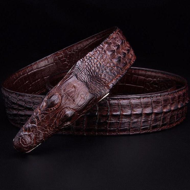 Smooth Leather Crocodile Head Buckle Belts-BELTS-SheSimplyShops