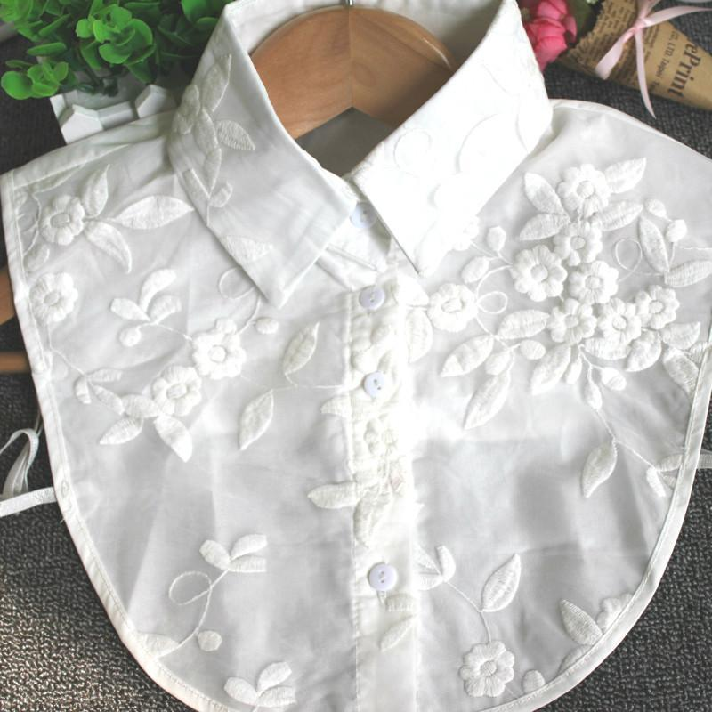 New Women Shirt Fake Collar Double Layer Lace Embroidery Floral Stand Collar Lapel Blouse Detachable Collar Accessories-Blouse-SheSimplyShops