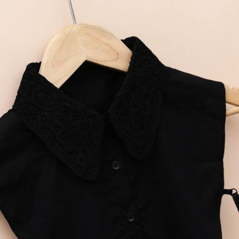 New Women Shirt Fake Collar Lace Floral Embroidery Hollow Vest Collar Lapel Blouse Detachable Stand Collars Accessories-Blouse-SheSimplyShops