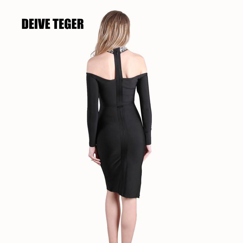 Solid black Party Bandage STONE Dress Side slit off shoulder full sleeve-Dress-SheSimplyShops