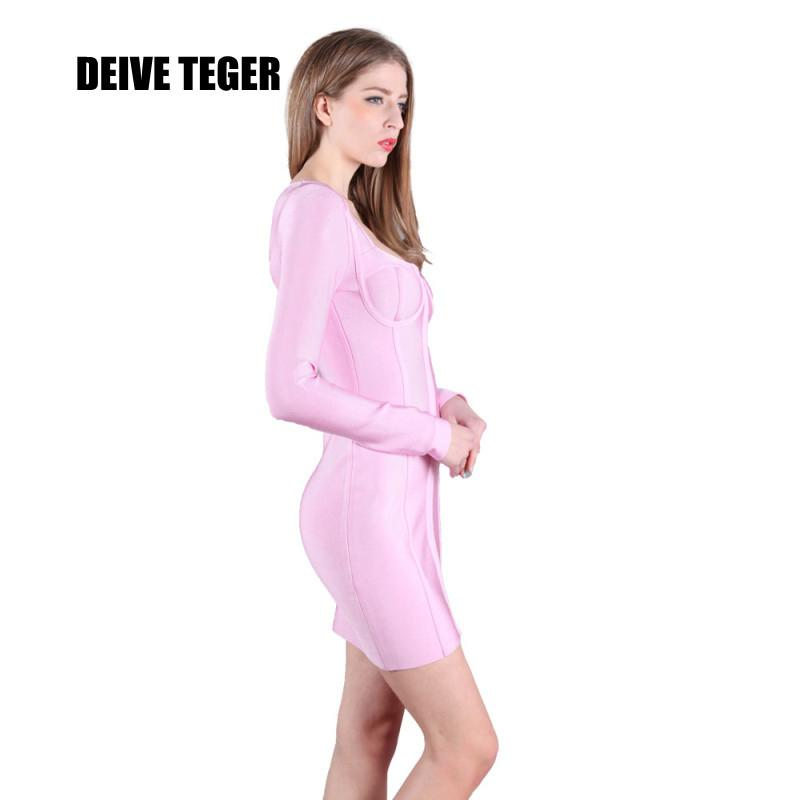Woman celebrity elegant club wear sexy long sleeve Bandage Party eyes Dresses newest pink dress-Dress-SheSimplyShops