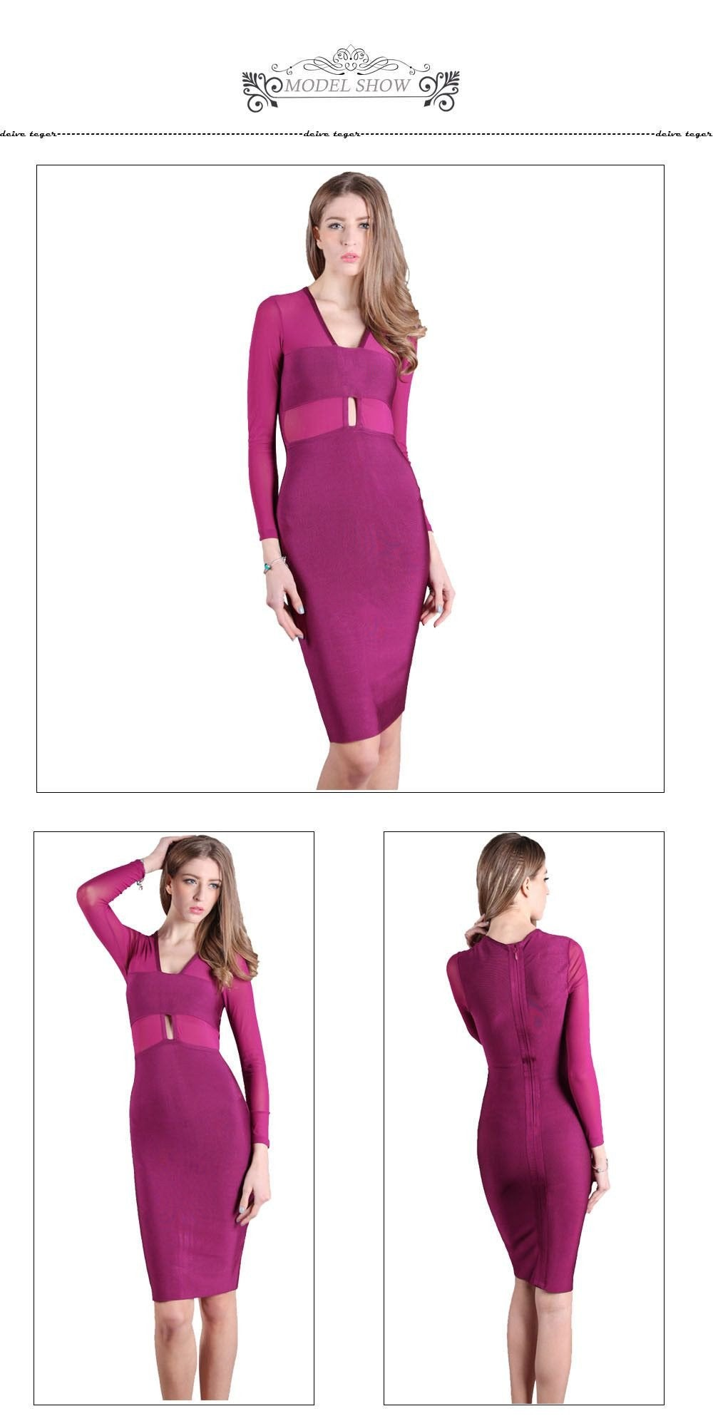 Bandage elegant new arrival spring fashion long sleeve mesh sexy BLACK &PURPLE cut out dress-Dress-SheSimplyShops