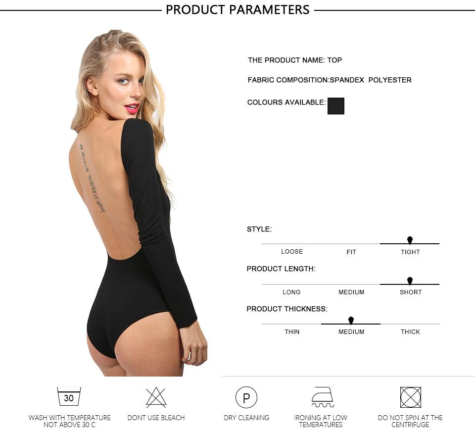 Autumn Backless Rompers Sexy Long Sleeve Women Bodysuit Black Crop Tops Blusa Combinaison Short Femme Apparel-ROMPERS & JUMPSUITS-SheSimplyShops