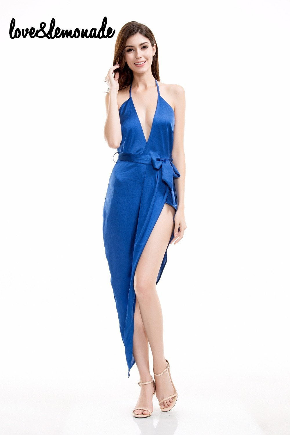 Navy V-Neck Halter Sexy Party Dress-Dress-SheSimplyShops
