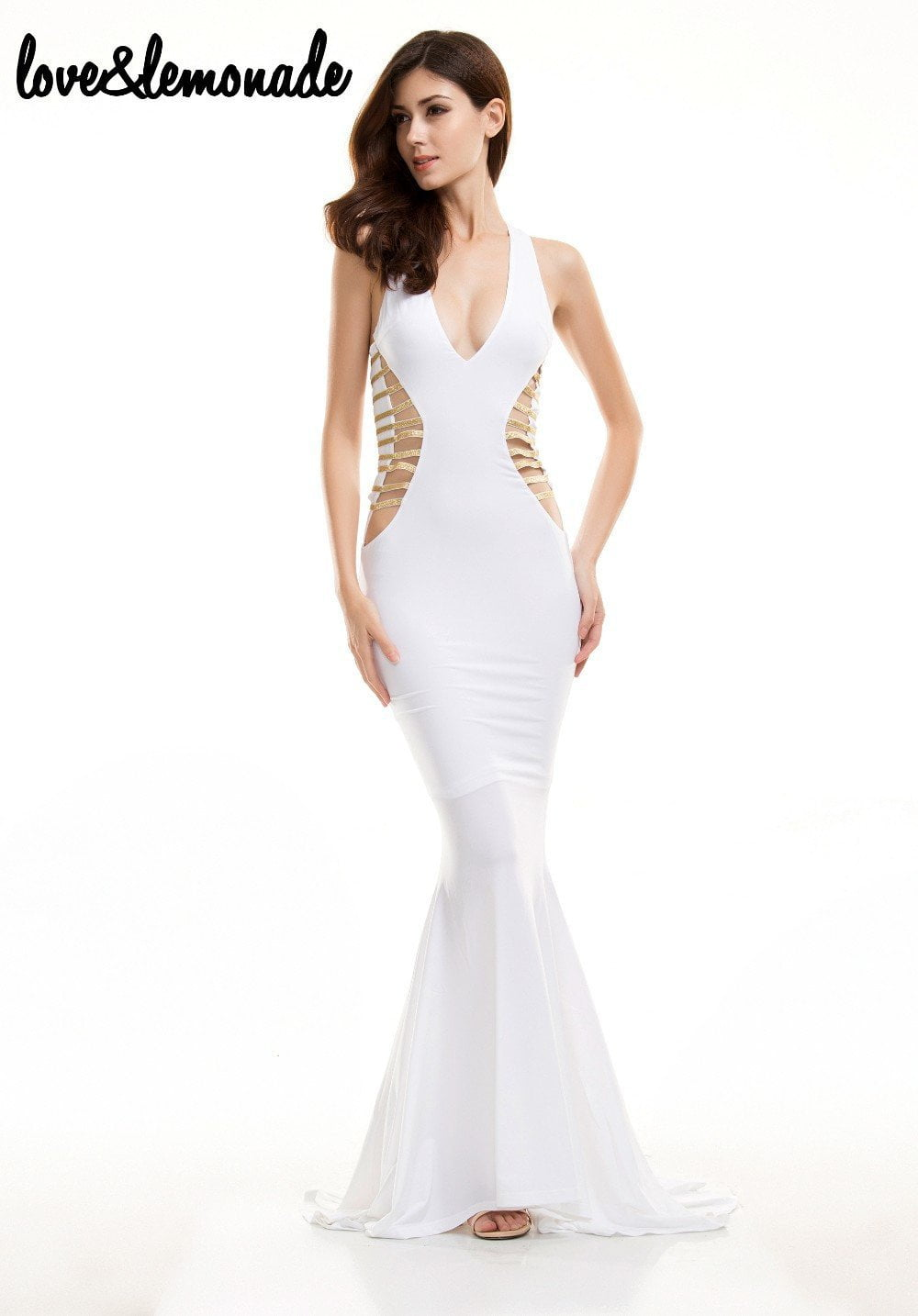 Sexy V-Neck Cut Out Maxi Dress White-Dress-SheSimplyShops