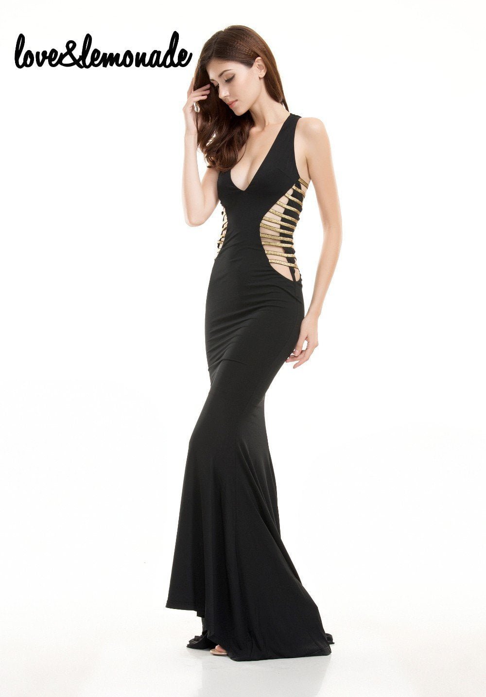Sexy V-Neck Cut Out Maxi Dress Black-Dress-SheSimplyShops