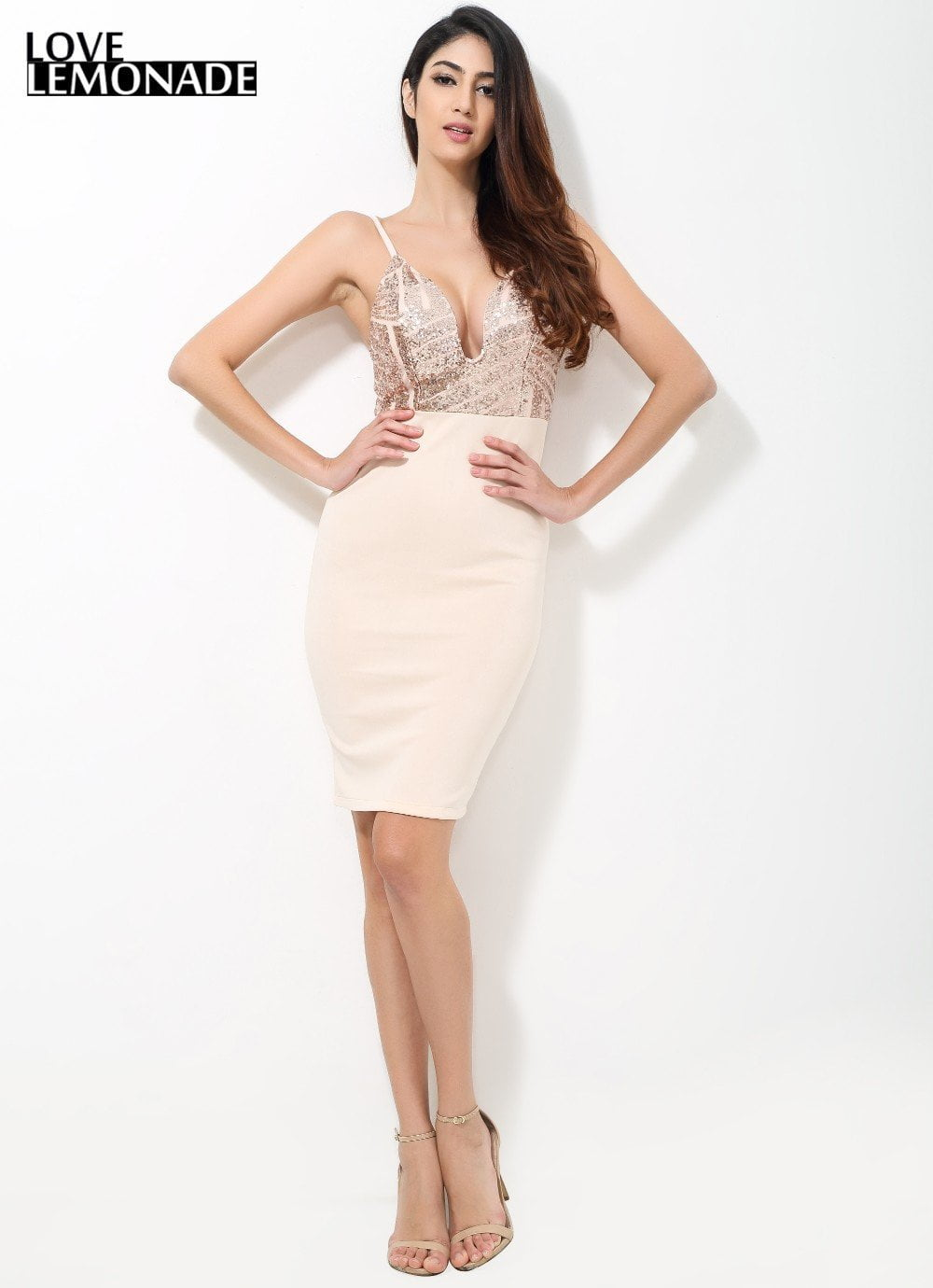 Geometry Gold Sequined V-Neck Party Dress-Dress-SheSimplyShops