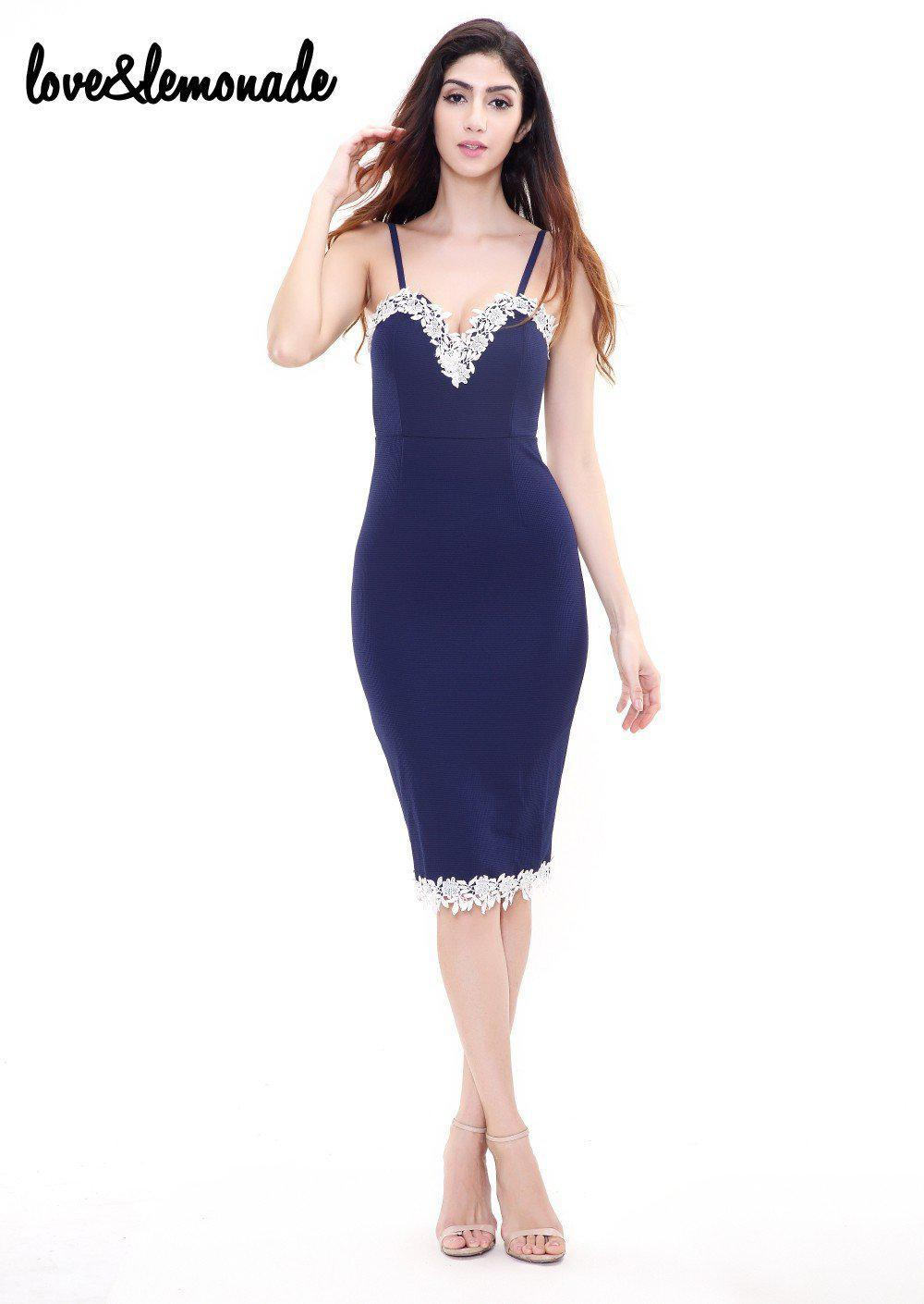 Tight Blue Lace Party Dress-Dress-SheSimplyShops