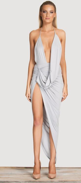 Light Grey Color V-Neck Halter Irregular Folds Party Dress-Dress-SheSimplyShops