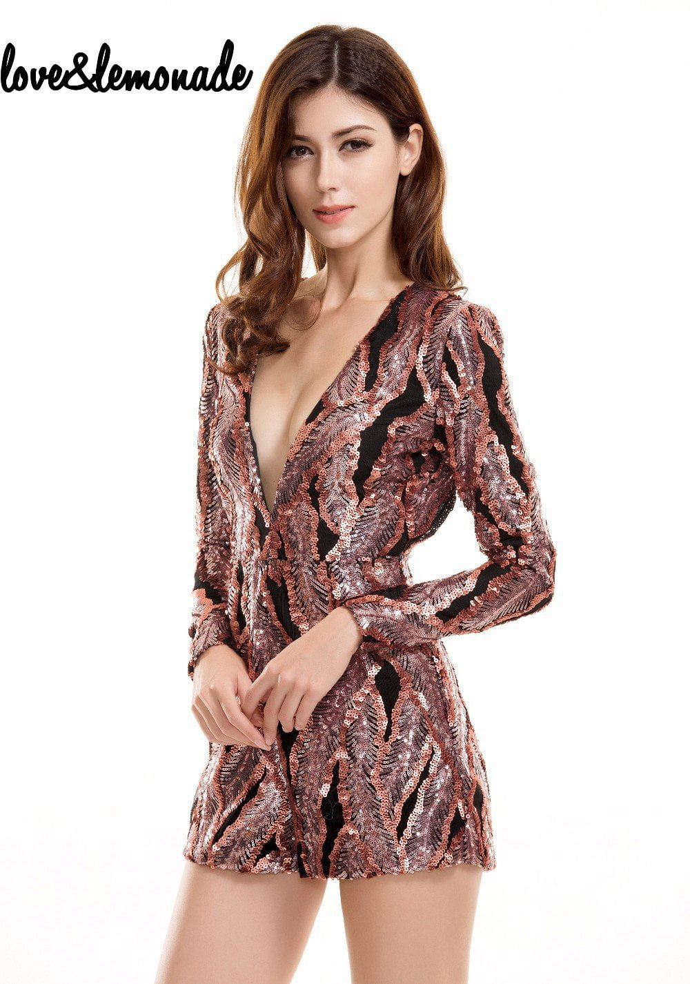 Sexy V-Neck Halter Sequins Playsuits-ROMPERS & JUMPSUITS-SheSimplyShops