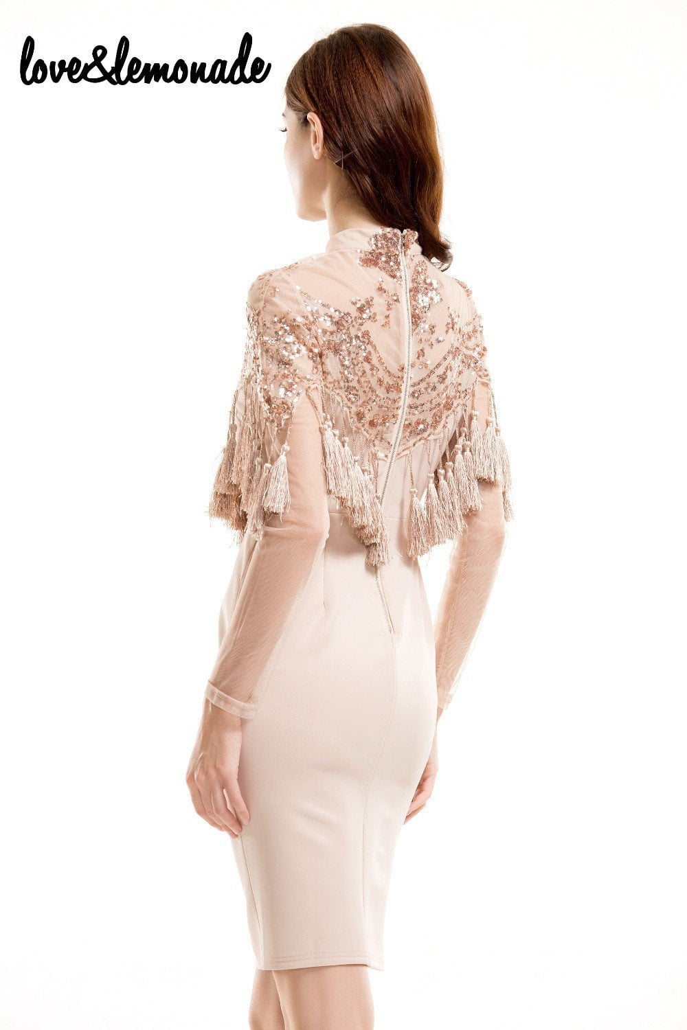 Lace Sequined Tassels Party Dress Nude-Dress-SheSimplyShops