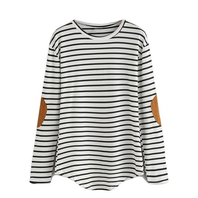 Women Long Sleeve Tops Women Clothing Women Shirts Korean Fashion Vintage Patch Striped T-shirt-Bottoms-SheSimplyShops