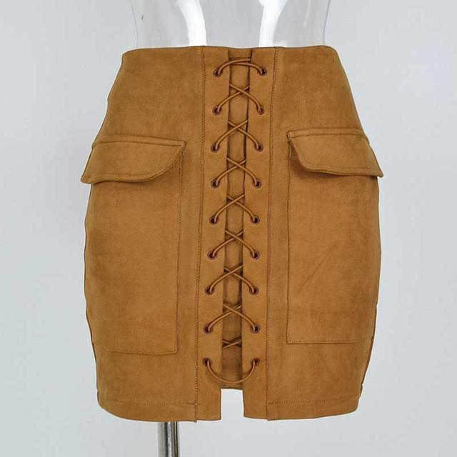 Women's Vintage High Waist External Pocket Tight Suede Lace Up Mini Skirt-Dress-SheSimplyShops