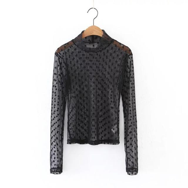 Summer Sexy Mesh Tops Women Long Sleeve Pullover T shirt Women Mock Neck Fashion Spring Tees Female-SHIRTS-SheSimplyShops