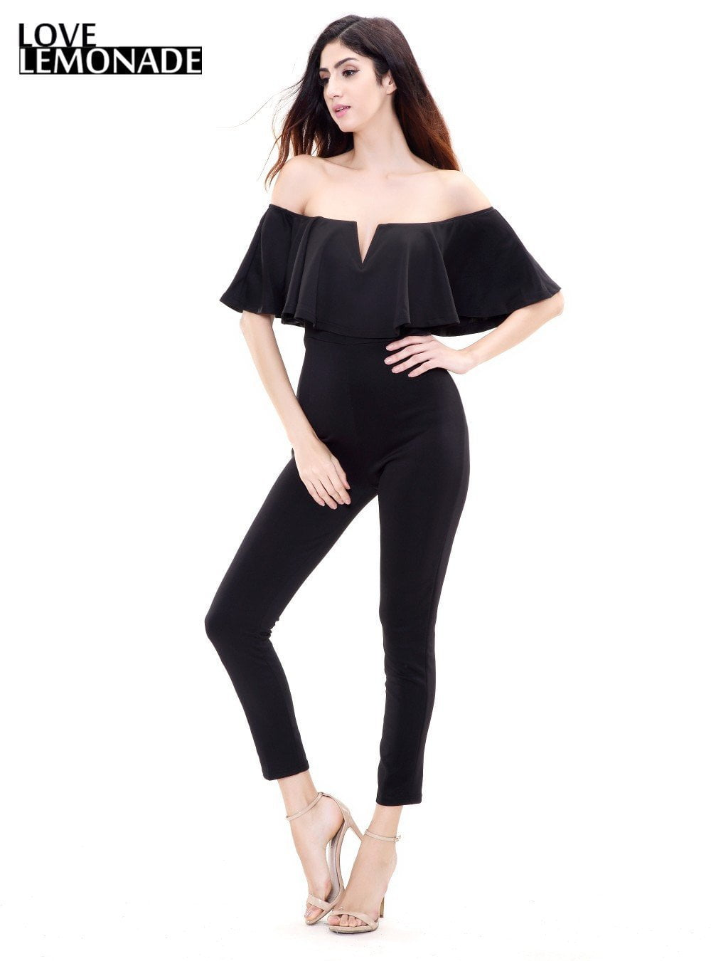Sexy V-neck Flouncing Slim Jumpsuits-ROMPERS & JUMPSUITS-SheSimplyShops