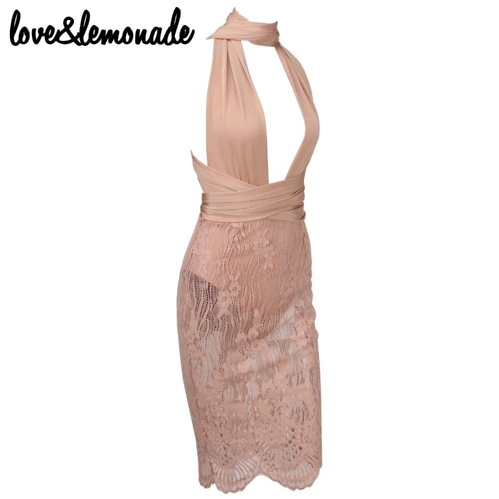 Nude Lace Changeable Straps Party Dress-Dress-SheSimplyShops