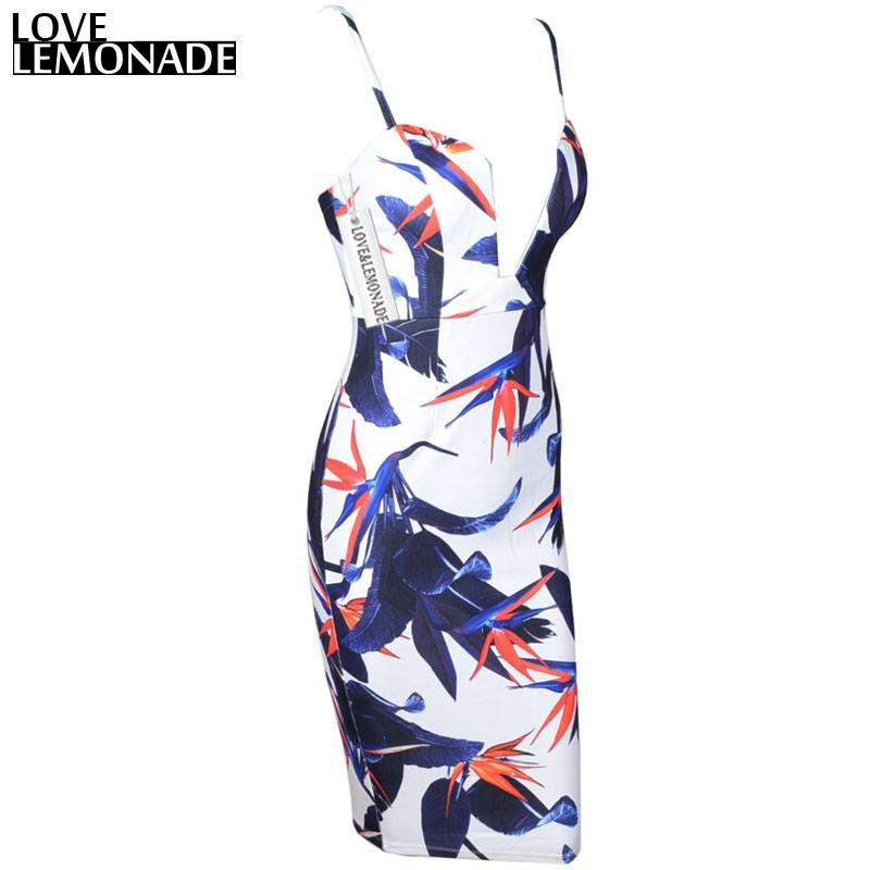 Leaves Printing Polyester V-Neck Party Dress-Dress-SheSimplyShops