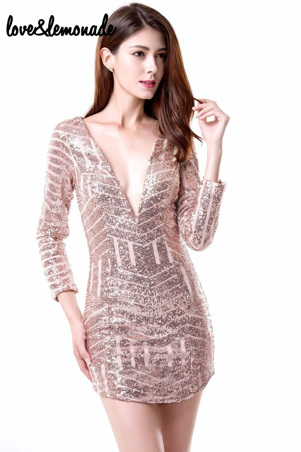 Fashion Geometric Sequined V-Neck Slim Dress. Party Dress-Dress-SheSimplyShops