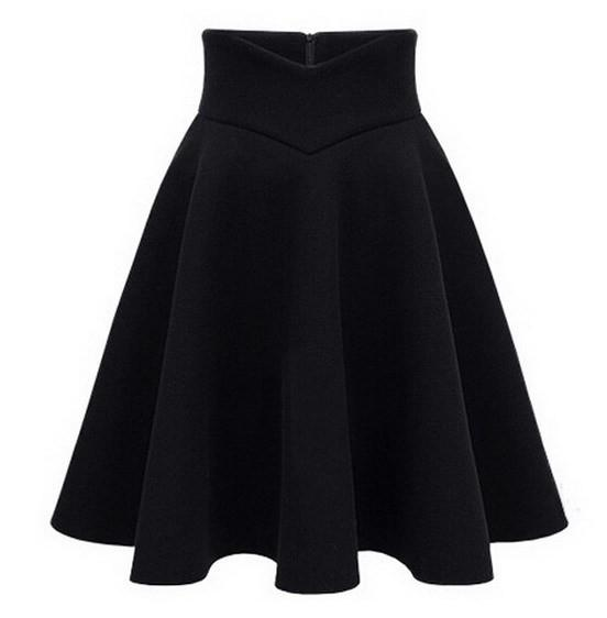High Waist Woolen Skirt Knee Length Fall Winter Black Gray Wine Red Female Skirts-Dress-SheSimplyShops