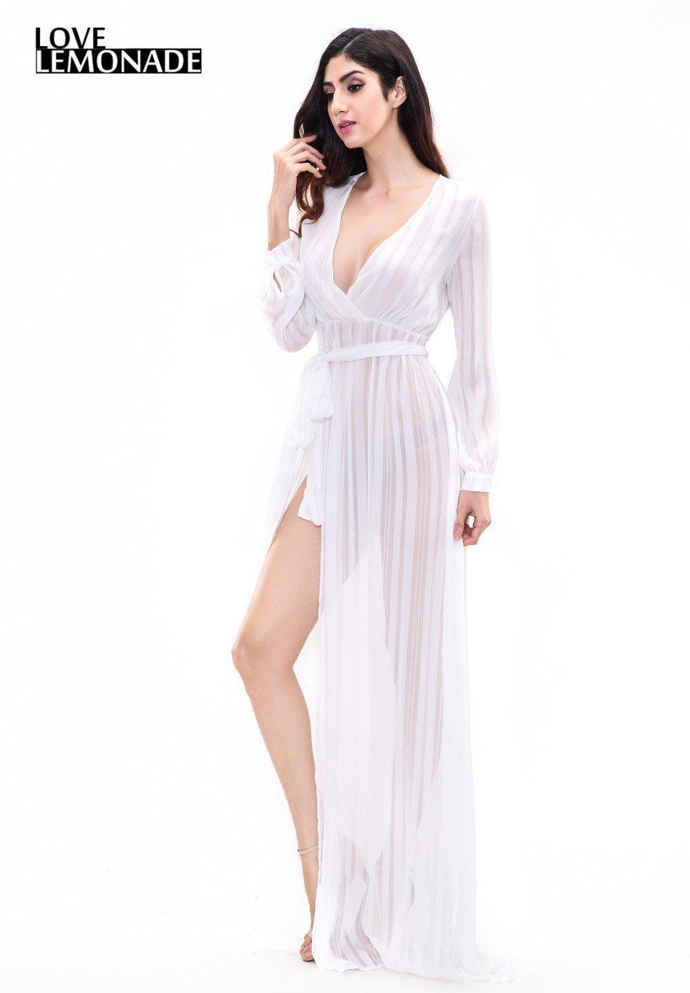White V-Neck Slit Maxi Dress-Dress-SheSimplyShops