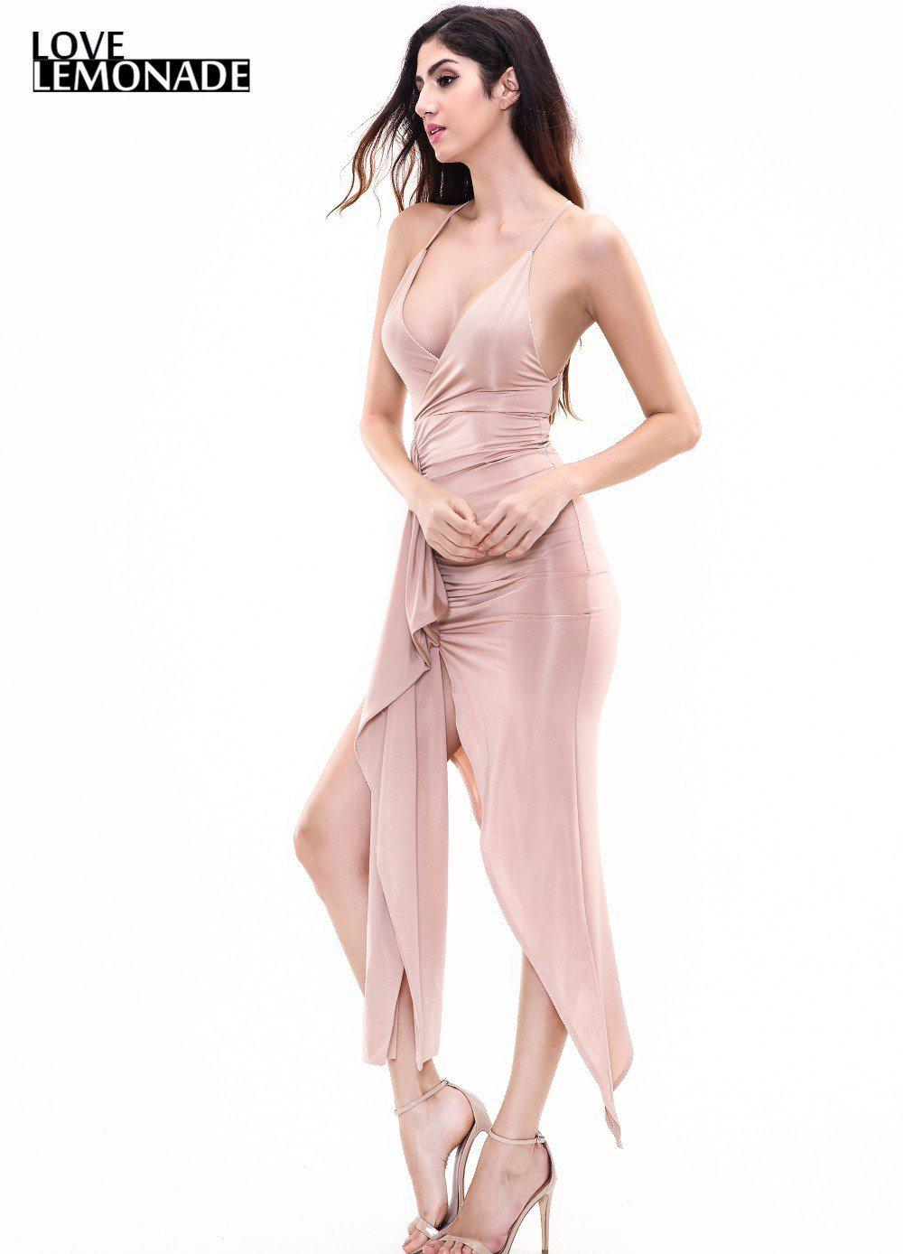 Sexy Nude Color V-Neck Halter Party Dress-Dress-SheSimplyShops