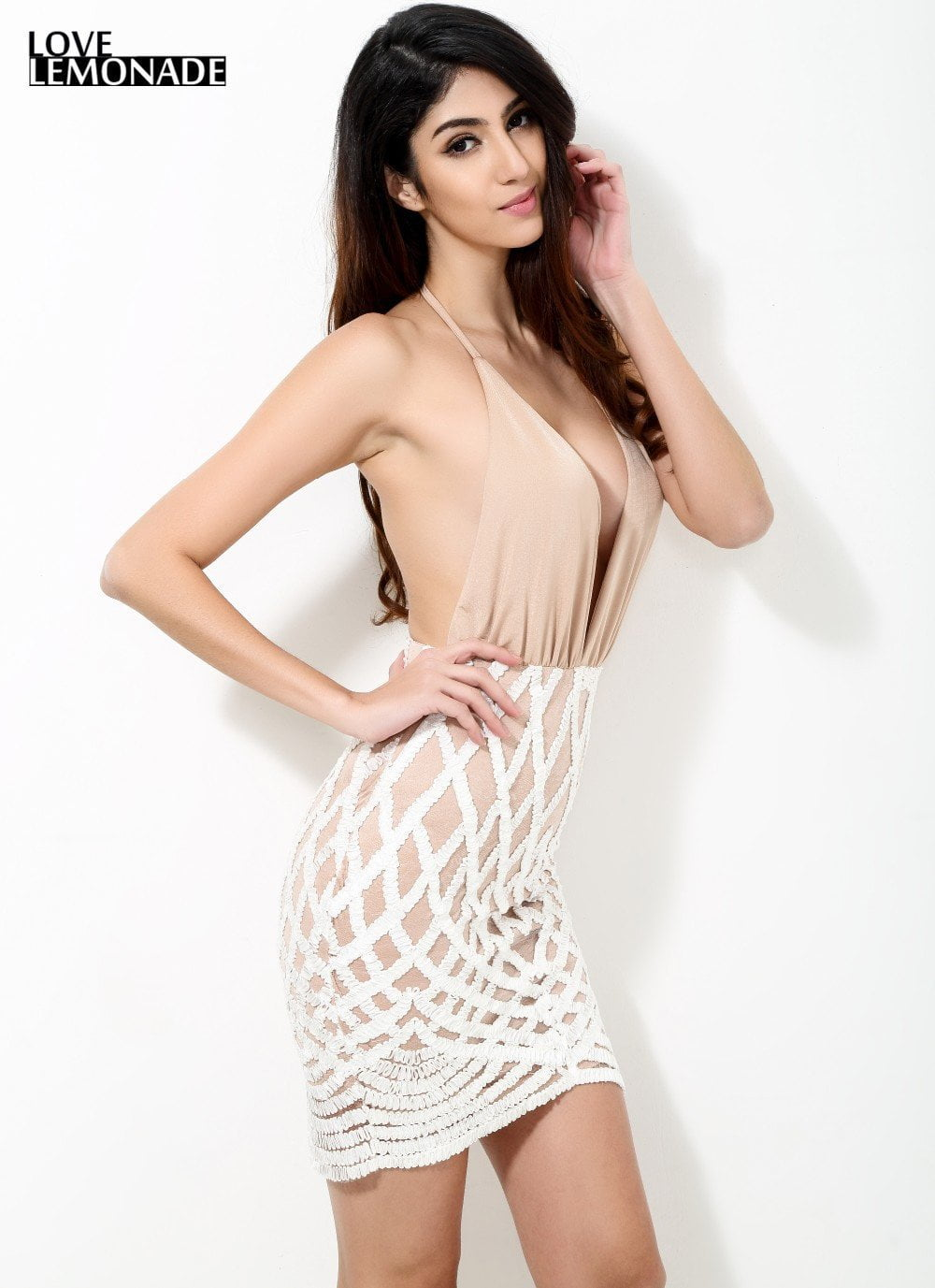 Sexy V-neck Nude Color Geometry Lace Party Dress-Dress-SheSimplyShops