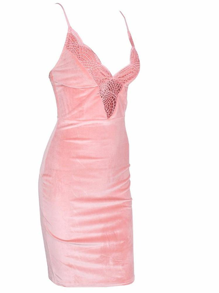 Lace Stitching V-Neck Velvet Bodycon Dress Pink-Dress-SheSimplyShops
