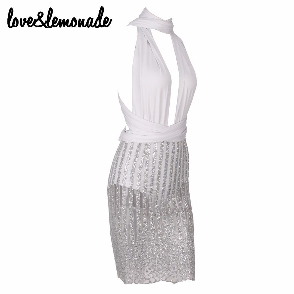 Sexy Silver Striped Sequined Party Dress-Dress-SheSimplyShops