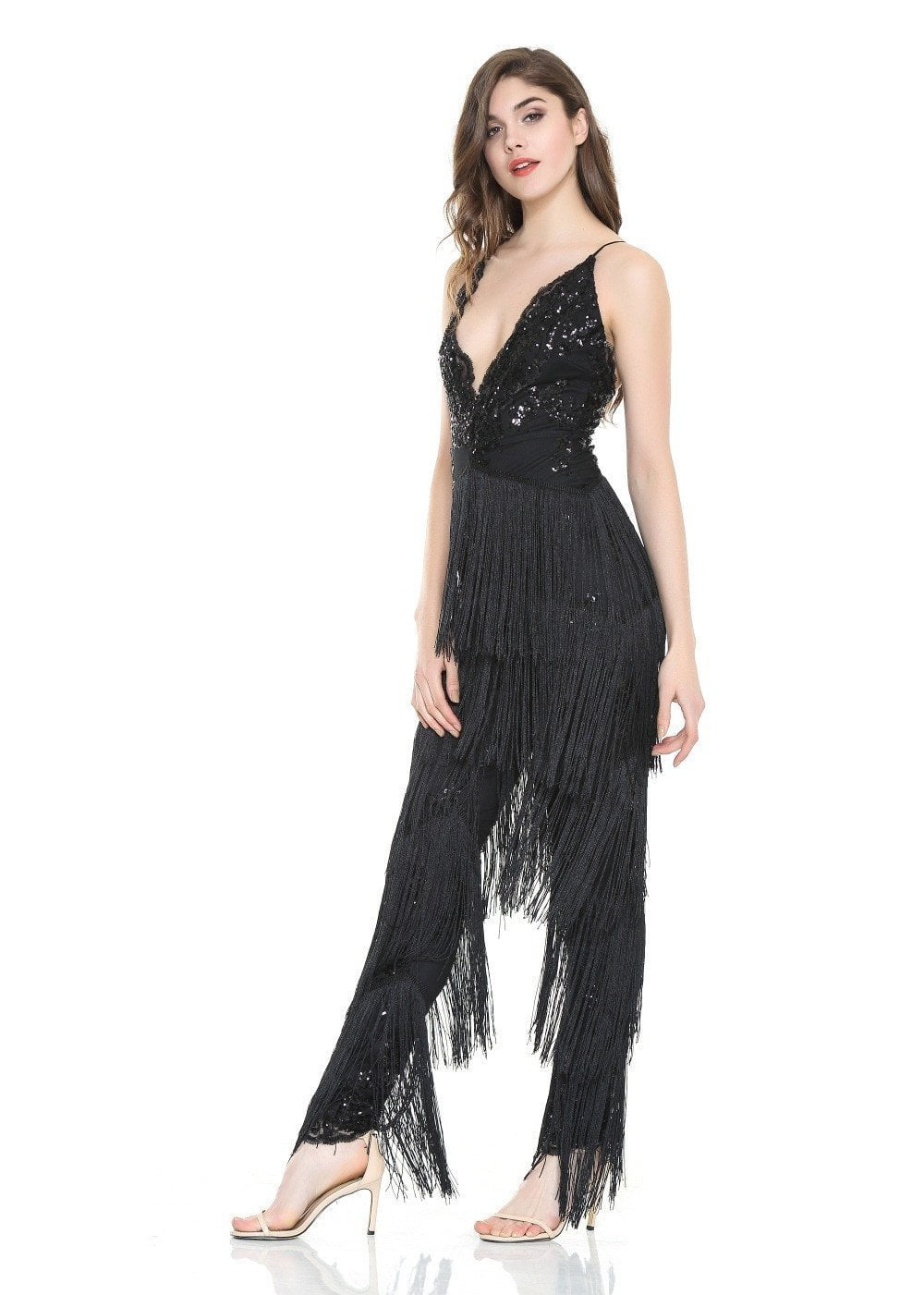Sexy V-Neck Sequins With Tassel Stitching Jumpsuits-ROMPERS & JUMPSUITS-SheSimplyShops