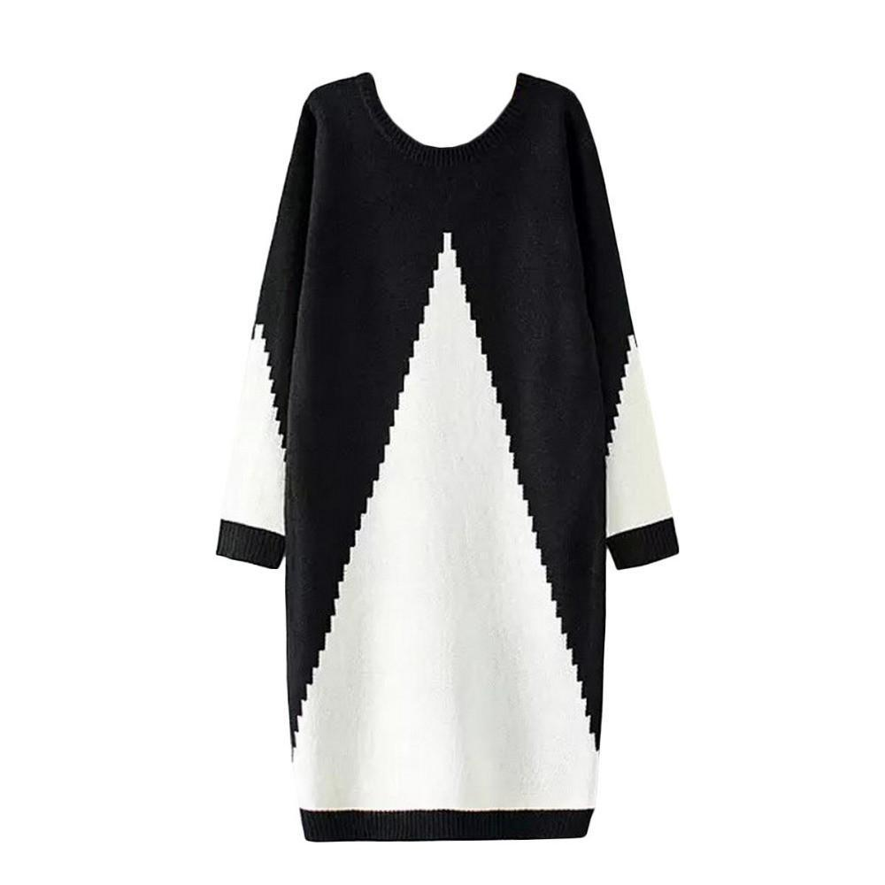 Women Sweater Dress White and Black Midi Winter Knitted Long Sleeve Casual Fashion Femme Robes Gowns Ladies Clothing-Dress-SheSimplyShops