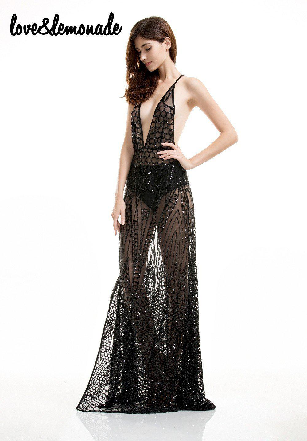 Sexy Perspective Geometry Sequined V-Neck Maxi Dress-Dress-SheSimplyShops
