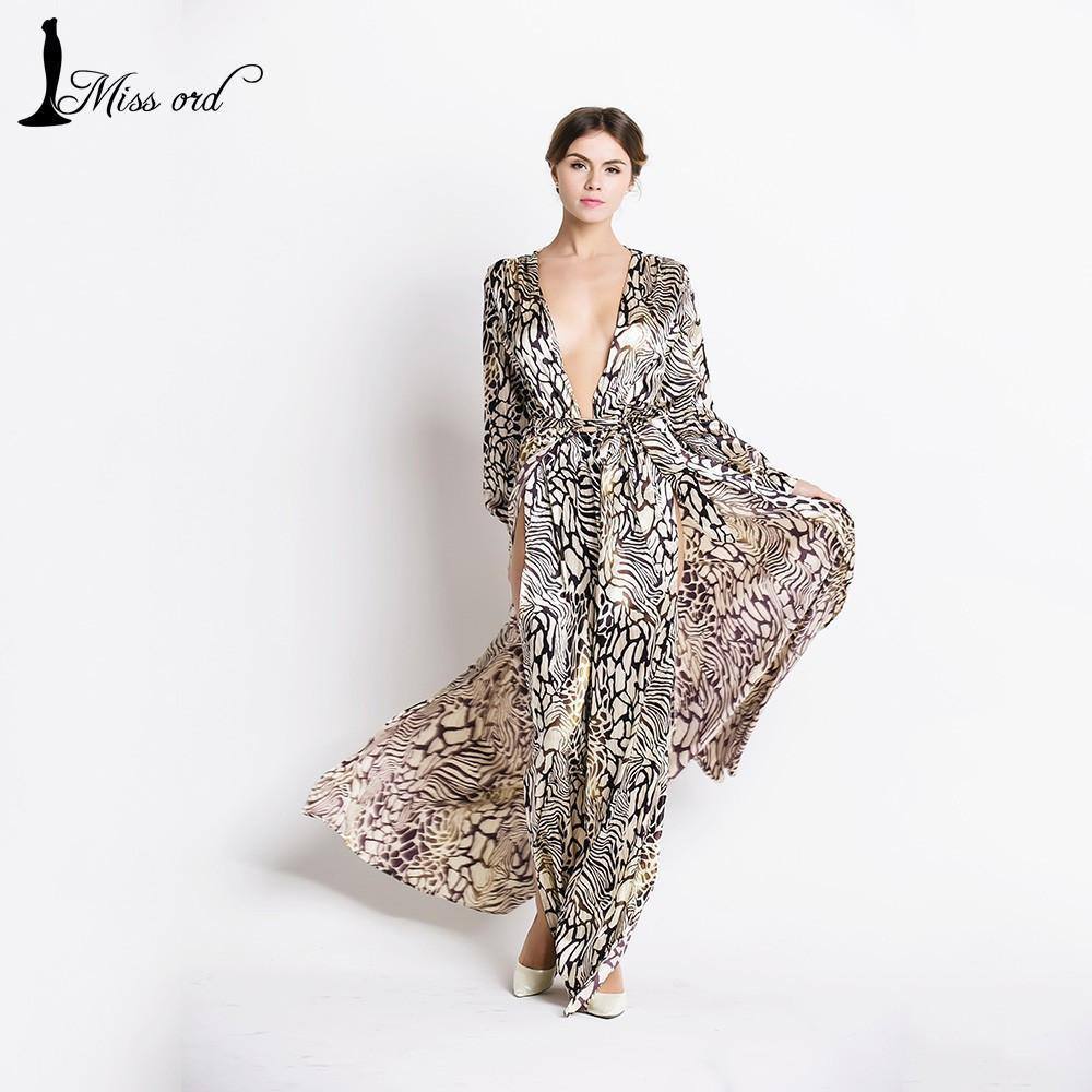 Missord Sexy Deep-V Long Sleeve split Leopard printing dress beach dress FT2294-1-Dress-SheSimplyShops