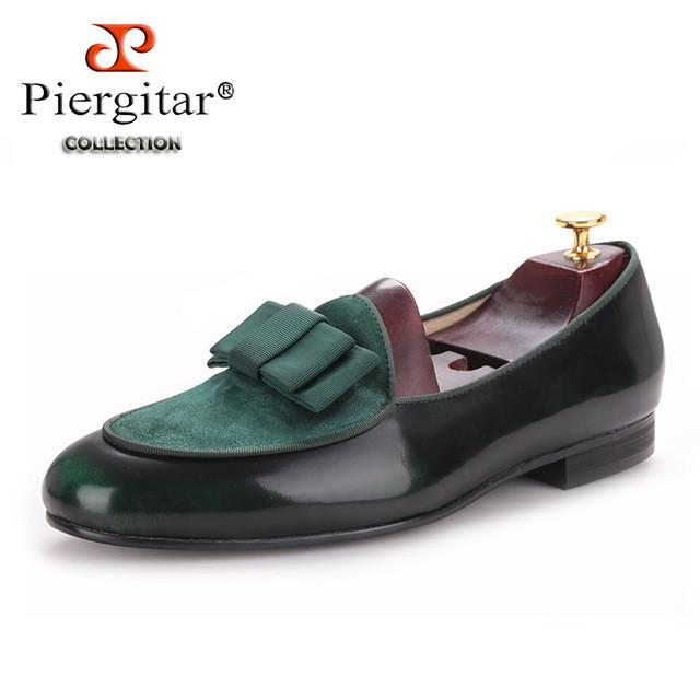 Three color Genuine Leather and Nubuck Leather stitching with Bowtie men handmade luxurious flats Men's banquet classic loafers-SLIPS-SheSimplyShops