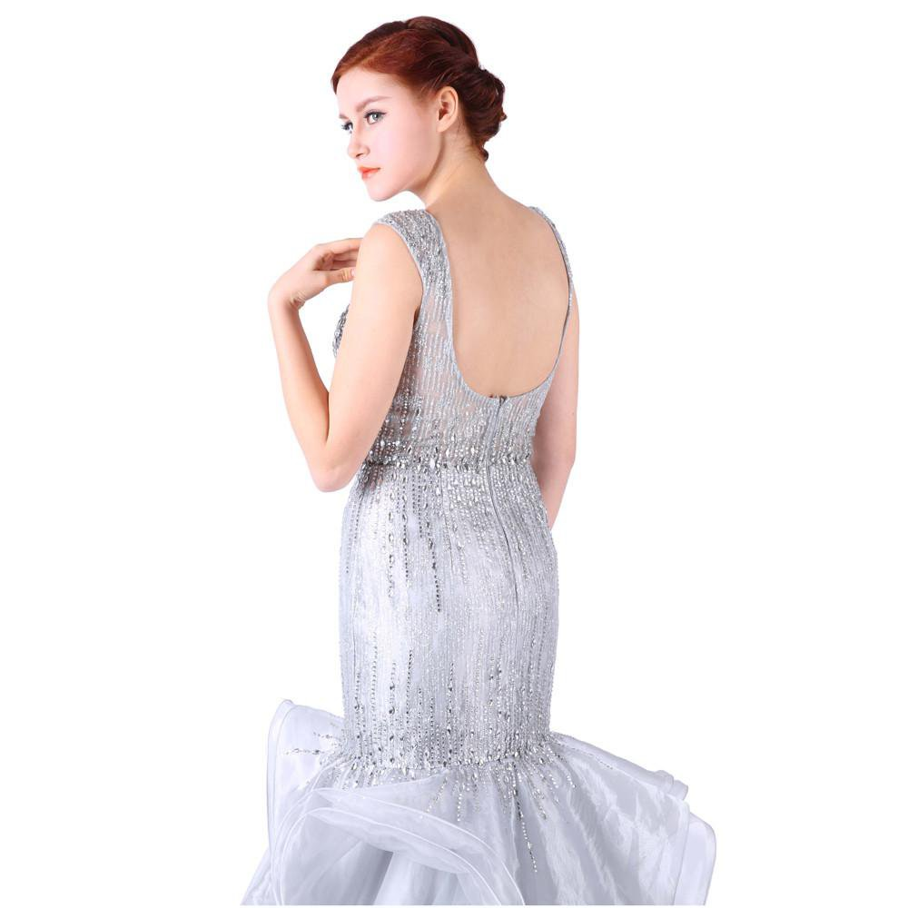 Long Evening Dresses Crystal Beaded Sweetheart Backless Mermaid Tiered Organza Party Gown For Women-Dress-SheSimplyShops
