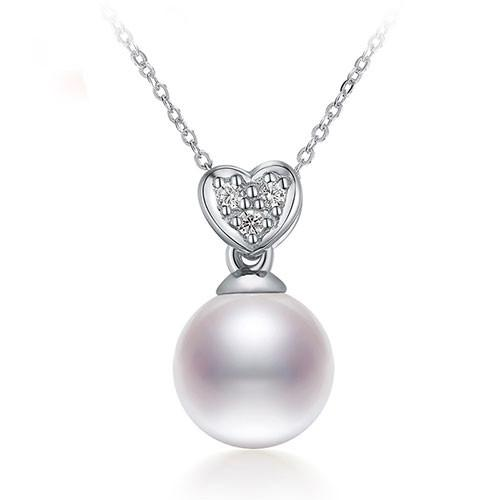 Shiny Heart Pendant 7-8mm White Pearl Pendant Necklace-NECKLACES-SheSimplyShops