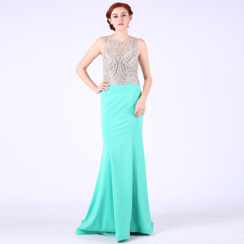 Sleeveless Beading Prom Dresses Scoop Neck Tank Floor-Length Evening Gowns Special Occasion Dresses-Dress-SheSimplyShops