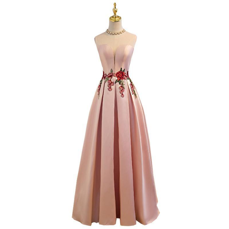 Luxury Satin Lace Up Floor-length Slim Evening Dresses-Dress-SheSimplyShops