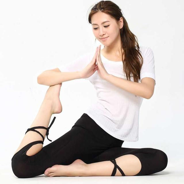 Yoga Pants Tights Leggings Ballet Spirit Bandage Cross-line Quick Dry Elastic Waist Sportswear For Fitness Dance Sports Trousers-ACTIVEWEAR-SheSimplyShops