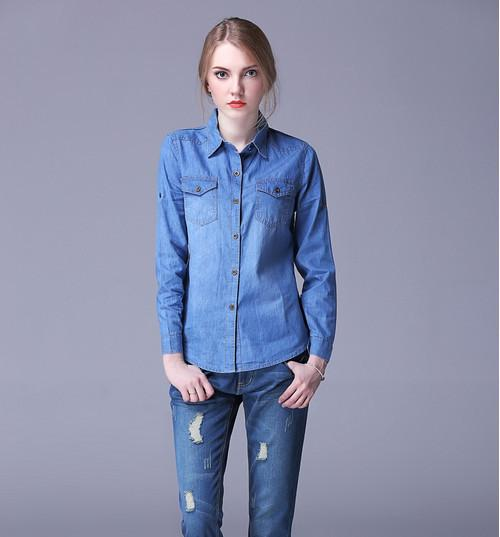 New fashion Autumn Spring women ladiyes cotton jeans denim pocket women casual blouse jeans long sleeve Female shirt-JEANS-SheSimplyShops