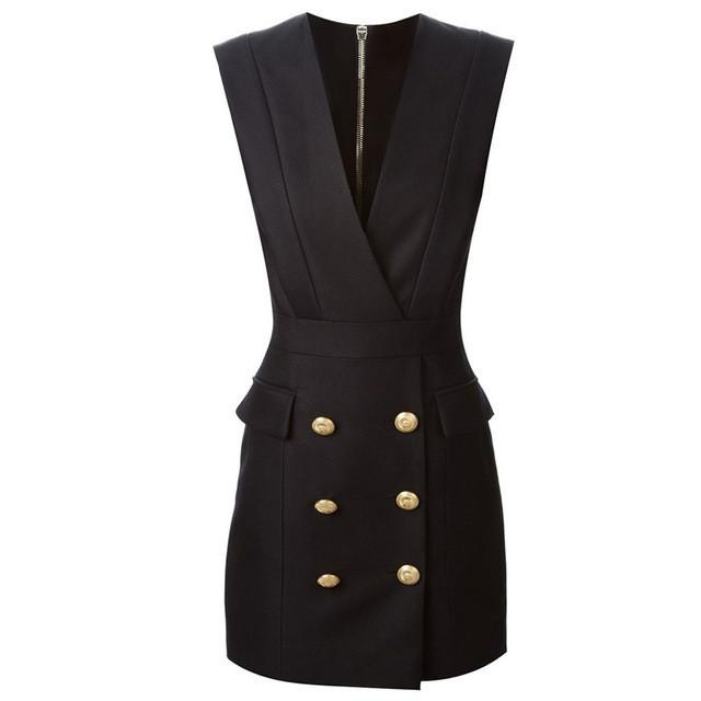Women Spring V-Neck Sleeveless Slim Double Button Sexy Workwear Dress-Dress-SheSimplyShops