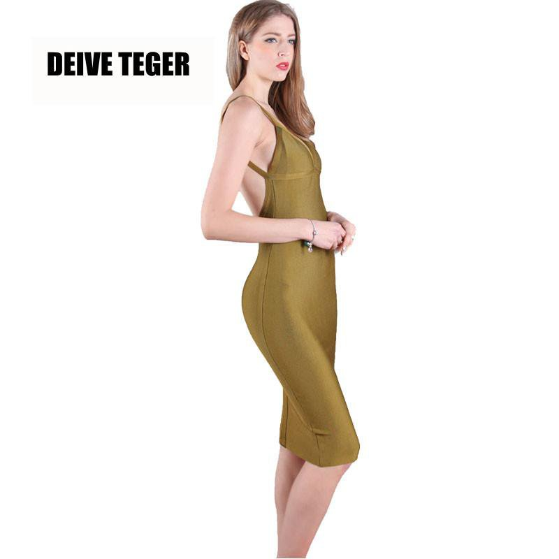 New Arrival Green Women Bandage Dress Pencil Lady Backless Party Solid Dresses-Dress-SheSimplyShops