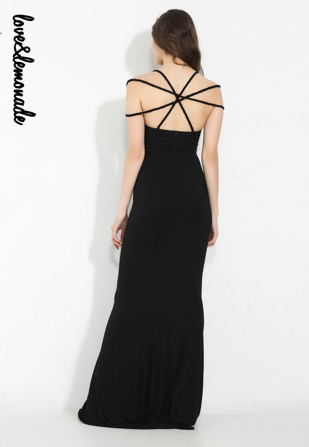 Sexy Black Strapless Cross Modeling Maxi Dress-Dress-SheSimplyShops
