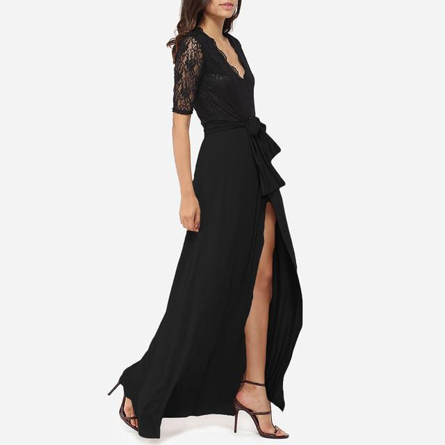 Fashion Summer Half Sleeve Lace Maxi Dress Women Sexy Split Long Party Dresses Casual Beach Dress-Dress-SheSimplyShops