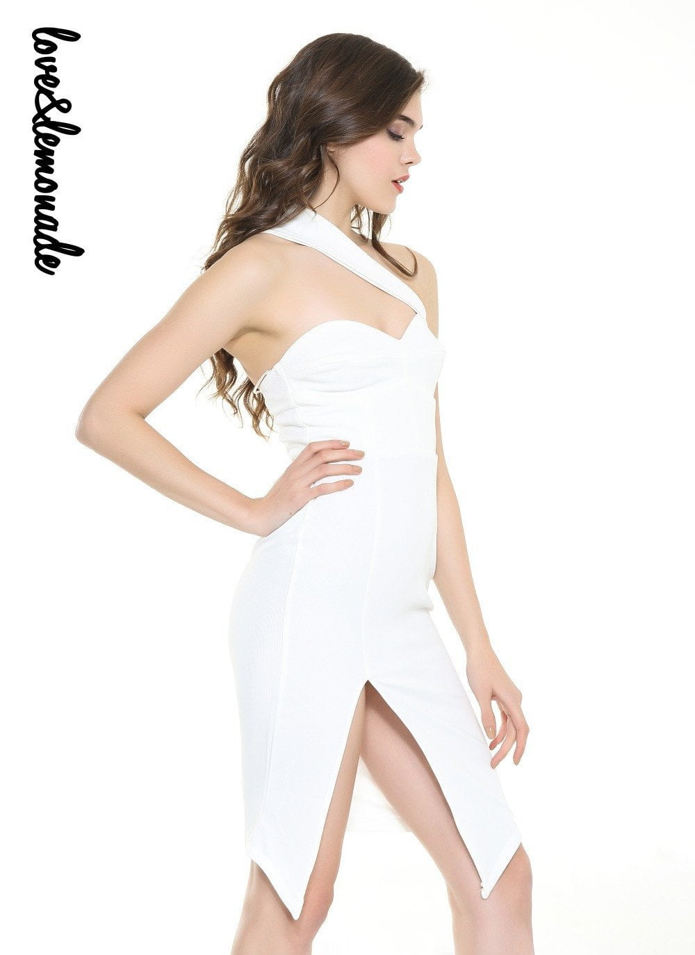 Sexy White Wipes Slits Bodycon-Dress-SheSimplyShops