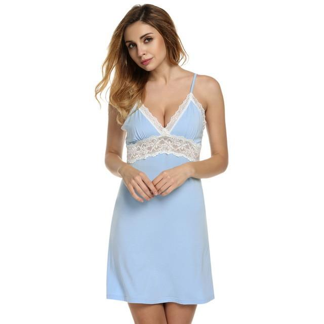 Spring Autumn Nightgown Women Sexy Spaghetti Strap Lace Patchwork Lingerie Dress Sleepwear Sleep shirts Size S-XL-Dress-SheSimplyShops