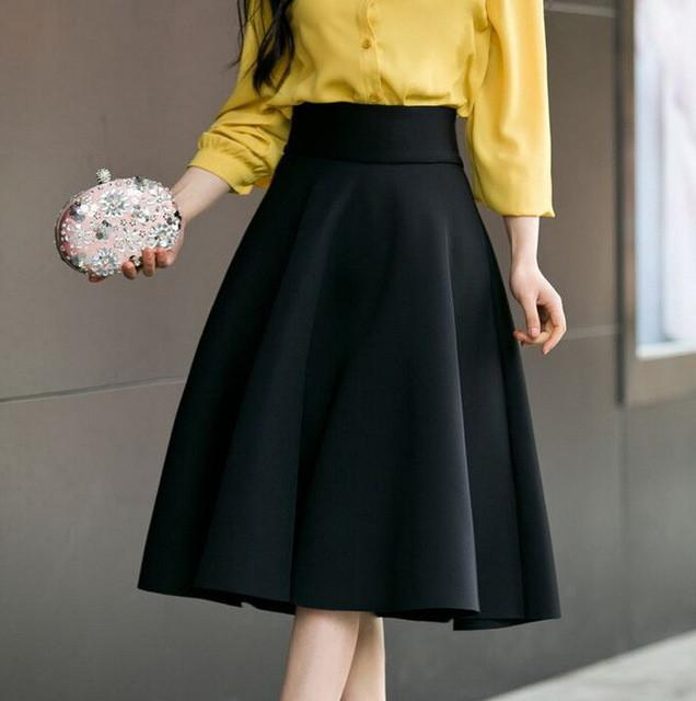 High Waist Pleat Elegant Skirt Green Black White Knee-Length Flared Skirts Fashion Women Faldas Saia Ladies Jupe-Dress-SheSimplyShops